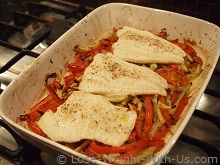 Baked Cod Over a Bed of Vegetable