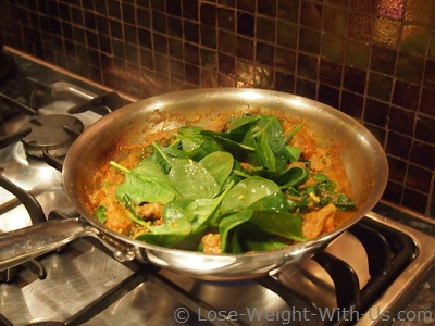 Adding Spinach to our Lamb Curry
