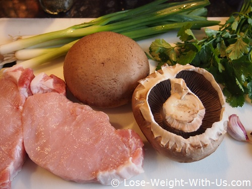 Raw Ingredients for the Pork and Mushroom Salad