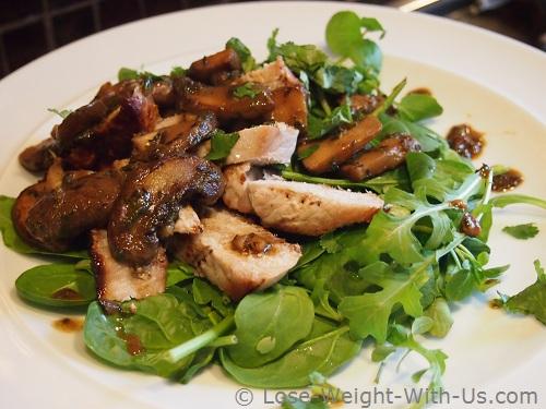 Pork and Mushroom Salad Served