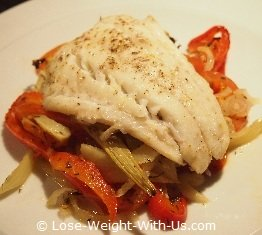 Baked Cod Fish Recipe With Bell Pepper, Fennel and Tomatoes