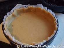 Pastry in Place with the Top Layer of Baking Paper Removed